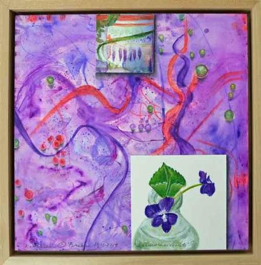 Sunwise Violets, ©Kathleen O'Brien, framed panel