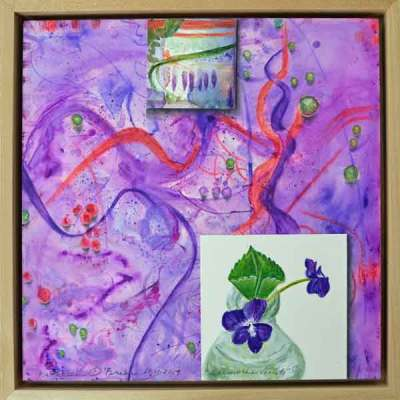 19 Sunwise Violets, ©Kathleen O'Brien, framed panel