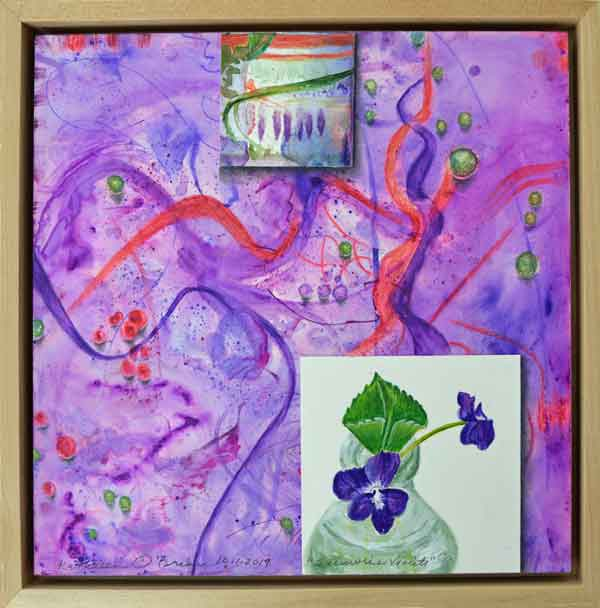 19 Sunwise Violets, ©Kathleen O'Brien, framed panel