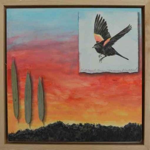 Sunwise Blackbirds ©Kathleen O'Brien, framed panel