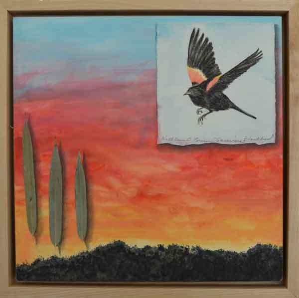 28 Sunwise Blackbirds ©Kathleen O'Brien, framed panel