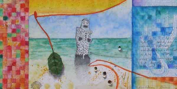 """Holiday Revels"", detail Holly & Katsina, watercolor, drawing, mica, botanicals on paper on panel, 20x16x2"", 12.12.12, ©Kathleen O'Brien 12.12.12, ©Kathleen O'Brien"