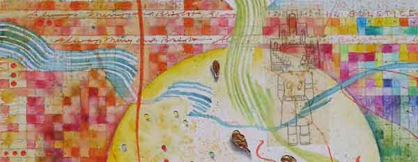 """Holiday Revels"", detail Katsina, watercolor, drawing, mica, botanicals on paper on panel, 20x16x2"", 12.12.12, ©Kathleen O'Brien 12.12.12, ©Kathleen O'Brien"