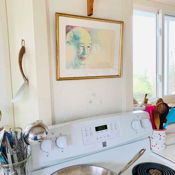 ©Kathleen O'Brien, Colored pencil drawing of Henry Miller, 1979, hangs over my stove