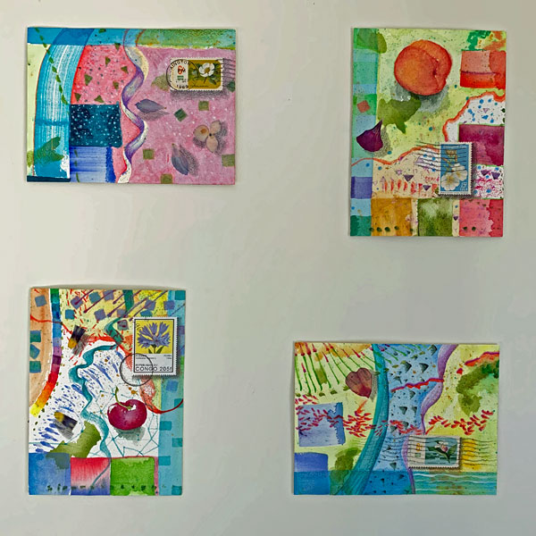 """Little Love Letters 25-28"" as they appeared on the studio wall for Open Studio"