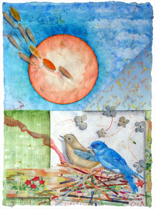 """Garden for Blue Bluebirds"", detail, watercolor, drawing, botanicals, collage, ©Kathleen O'Brien,"