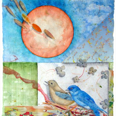 """""""Garden for Blue Bluebirds"""", detail, watercolor, drawing, botanicals, collage, ©Kathleen O'Brien,"""
