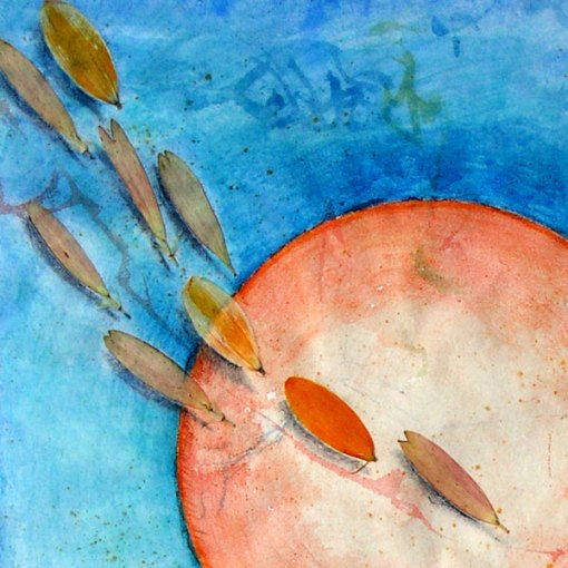 """Garden for Blue Grossbeaks"", detail, watercolor, drawing, botanicals, collage"