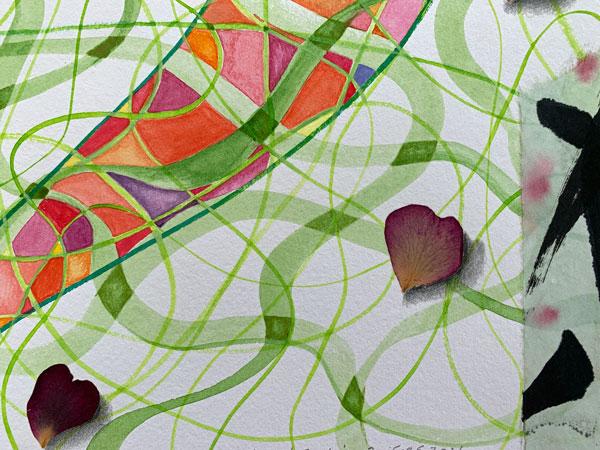 """""""Beginnings Endings 2"""", detail, watercolor, drawing, rose petals"""