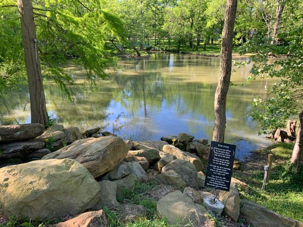 Tillich Park pond, waterfall, inspiration, giant chair sculpture, Monet bridge (zoom in)