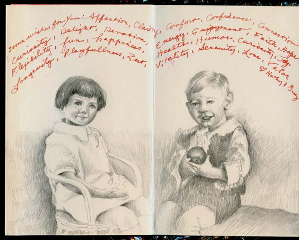 """Drawings in """"Mom's 90th"""" book, by Kathleen O'Brien"""