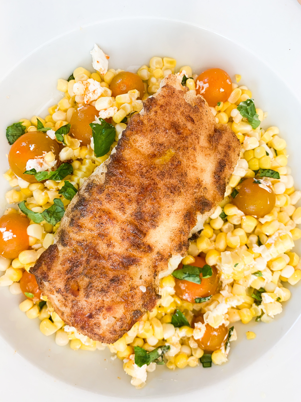 Crispy Cod & Summer Corn Salad
