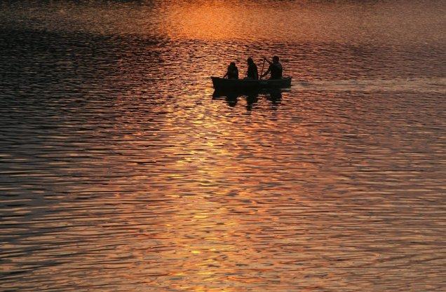 Sunset Canoe on Tupper Lake