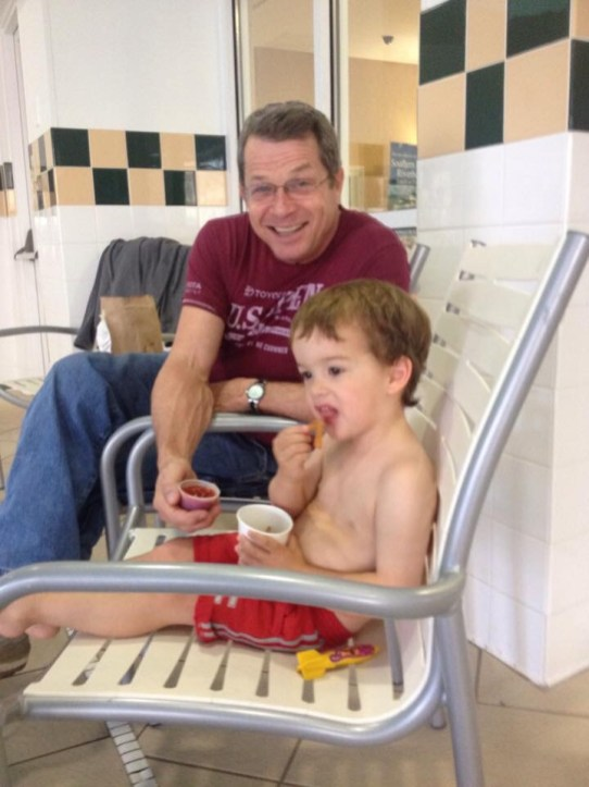 Granddad holding ketchup for Colin. Fall 2014.