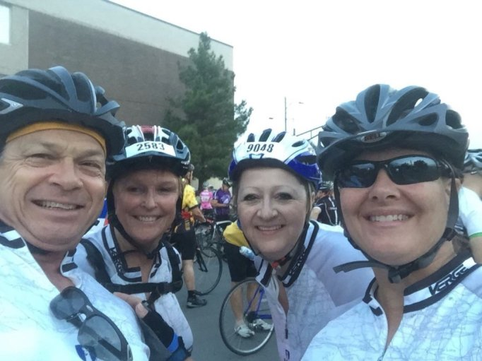 Ron, Camille (my riding buddy), Liz (KMOC Office Manager), and me before the ride.