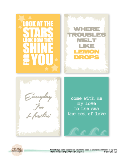 Free printable from chic tags