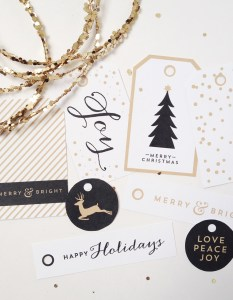 Free Printable Black and Gold Holiday Tag