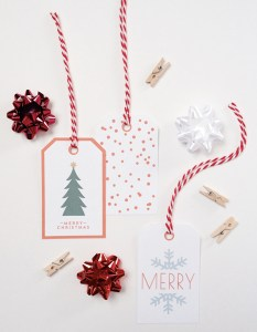 Free printable red and green holiday tags