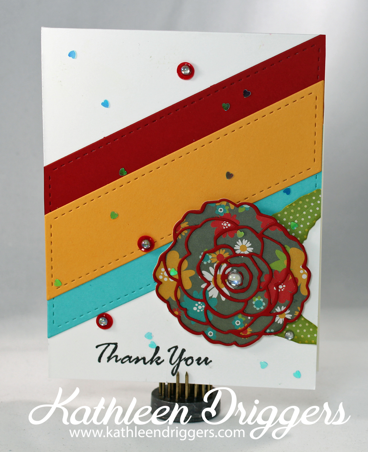 Cheerful Die Cut Thank You Card Kats Adventures In Paper Crafting
