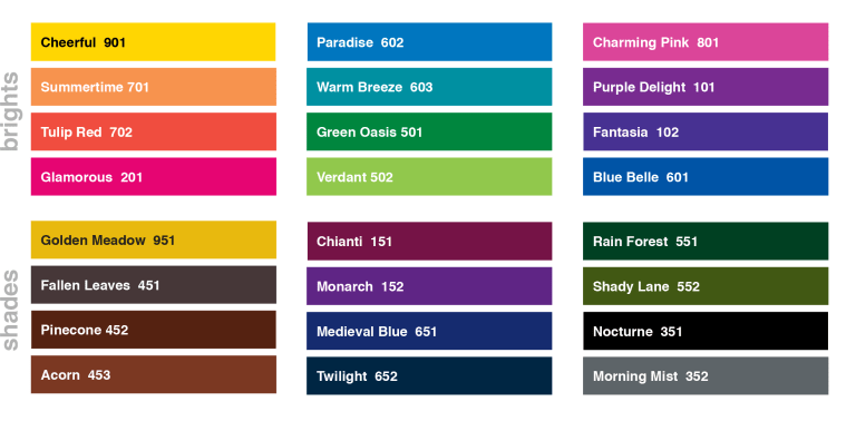Versafine Clair Ink Color Chart