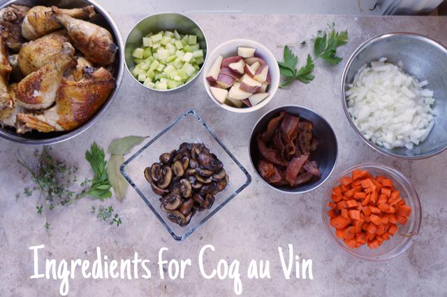 Ingredients for coq au vin