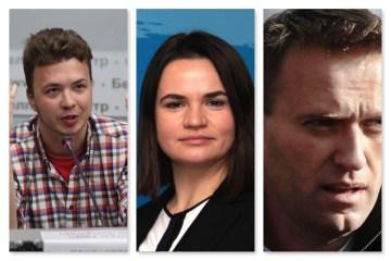 Photo grid of three Eastern European dissidents