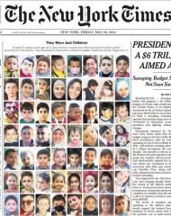 New York Times photo of 67 children killed in Israeli bombing of Gaza May 2021