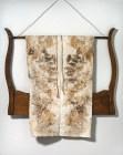 Kitchen Garden print on vintage chefs apron. Hung on found oak harp.