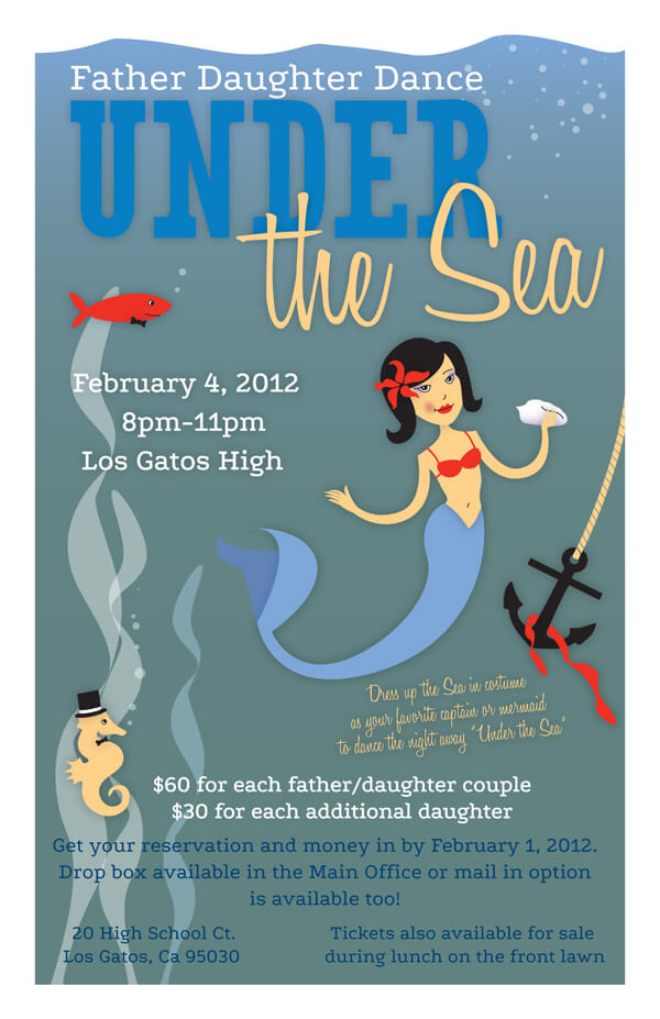 Under the Sea Invitation, Father Daughter Dance, Los Gatos High School