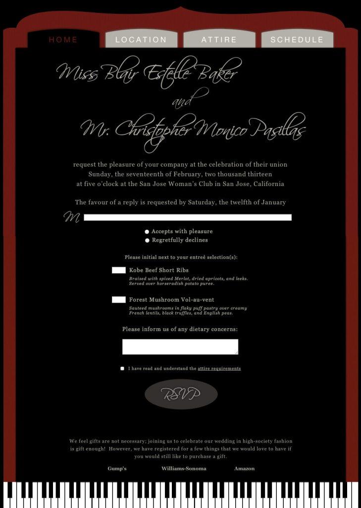 Wedding Recital Website - Home/RSVP