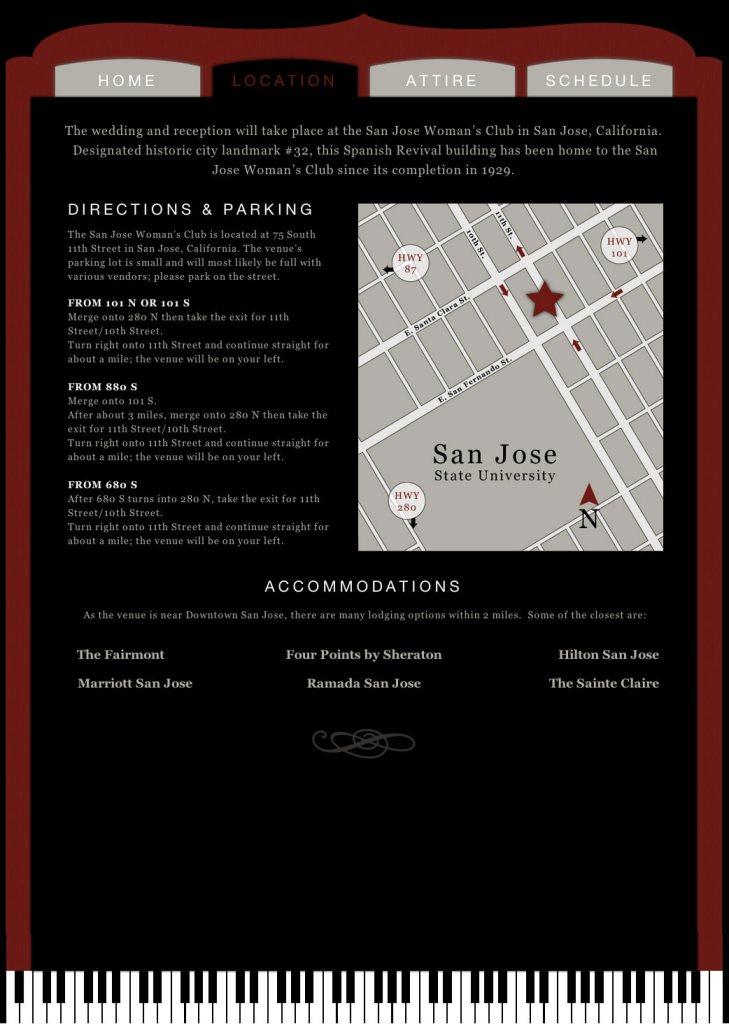 Wedding Recital Website - Location
