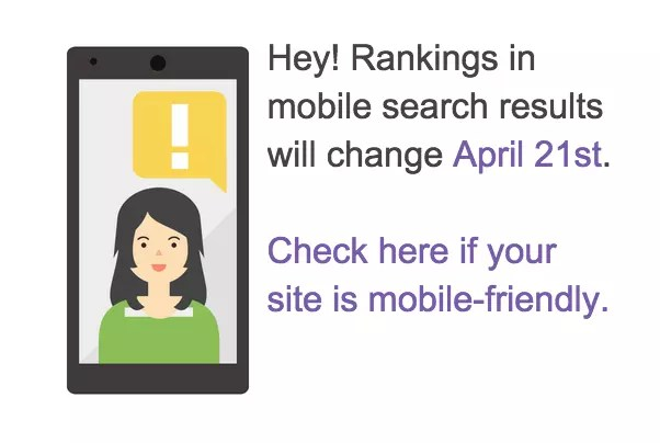 Google notice about April 21 15 Changes to mobile search