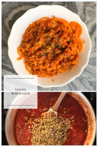One-Pot Lentil Bolognese. Thick, filling pasta sauce made meatless with the addition of lentils that cook right in the sauce. KathleensCravings.com