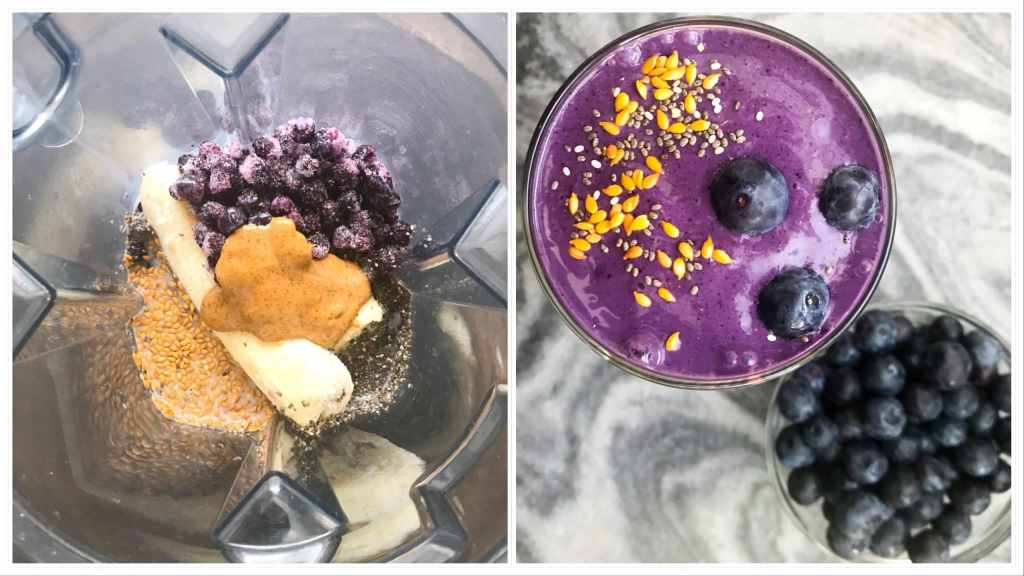 Sweet from the blueberries and pineapple, protein from the almond butter, and some extra nutrients from the flax and chia seeds, this smoothie checks all the boxes. Perfect for a quick on the go breakfast or as a post-workout snack.  #Smoothie #vitamix #drinkyournutrients #postworkoutdrink #plantbaseddiet