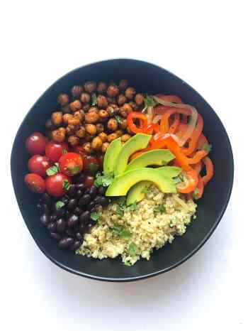 Vegan chickpea burrito bowls for meal prep