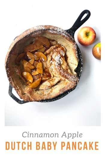 Treat yourself to a fun fall breakfast. This Cinnamon Apple Dutch Baby Pancake puffs up beautifully in the oven and provides the perfect base for the brown sugar apples that we pile on top. #fallrecipes #applepancake #applerecipes #weekendbreakfast