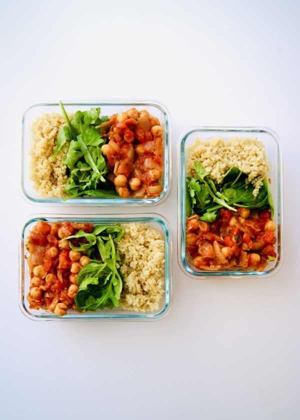 These Spicy Tomato Chickpeas with Quinoa are meal prep friendly, vegan, gluten-free, dairy-free, but still packed with protein. Great eaten cold and reheats well, this is your solution to busy weekday lunches. And the kick from the pepper flakes make it anything but boring. Recipe at KathleensCravings.com