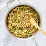 Everyone's favorite, comforting Beef Stroganoff but conveniently made in one-pot and using ground beef to cut down on costs. It's lightened up by using greek yogurt instead of sour cream. But you won't even notice! Perfect weeknight dinner that is ready in just 30 minutes. Recipe at KathleensCravings.com #KathleensCravings #onepotmeal #onepotrecipe #groundbeefrecipe #groundbeef #lightenedup