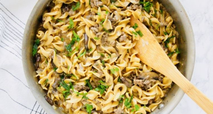 One-Pot Lighter Beef Stroganoff with Ground Beef