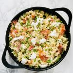 """Prosciutto Burrata Pasta with Peas is for the cheese lovers. It has creamy burrata and nutty parmesan. Loads of fresh peas, salty prosciutto, and fresh lemon. Perfect spring or summer pasta dish. Recipe at KathleensCravings.com #burrata #prosciutto #burratapasta #peapasta #springpasta #castironskillet"""""""