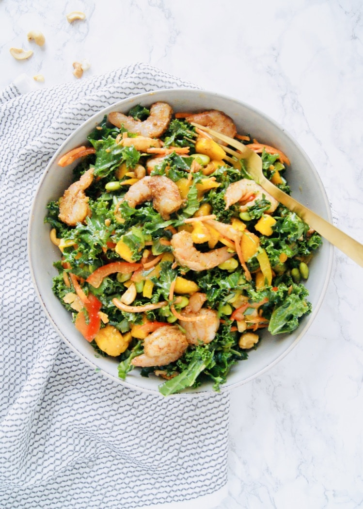 Roasted Shrimp Thai Kale Salad