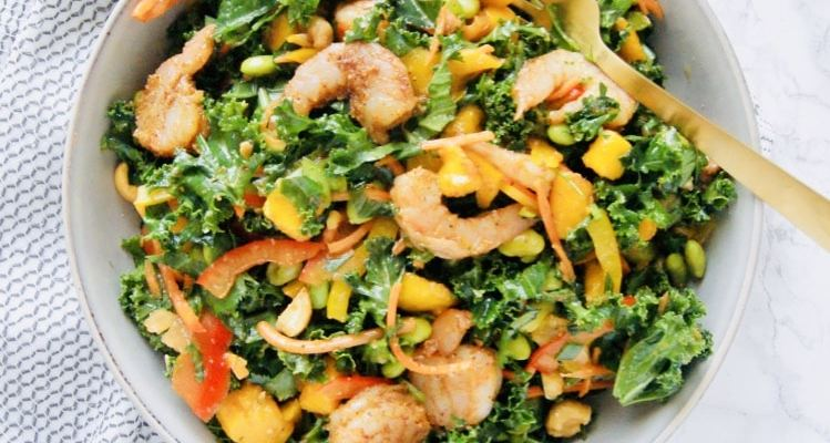 Roasted Shrimp Thai Kale Salad