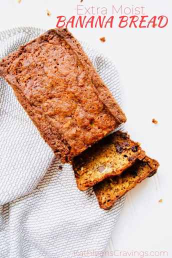 Moist banana bread sliced with text