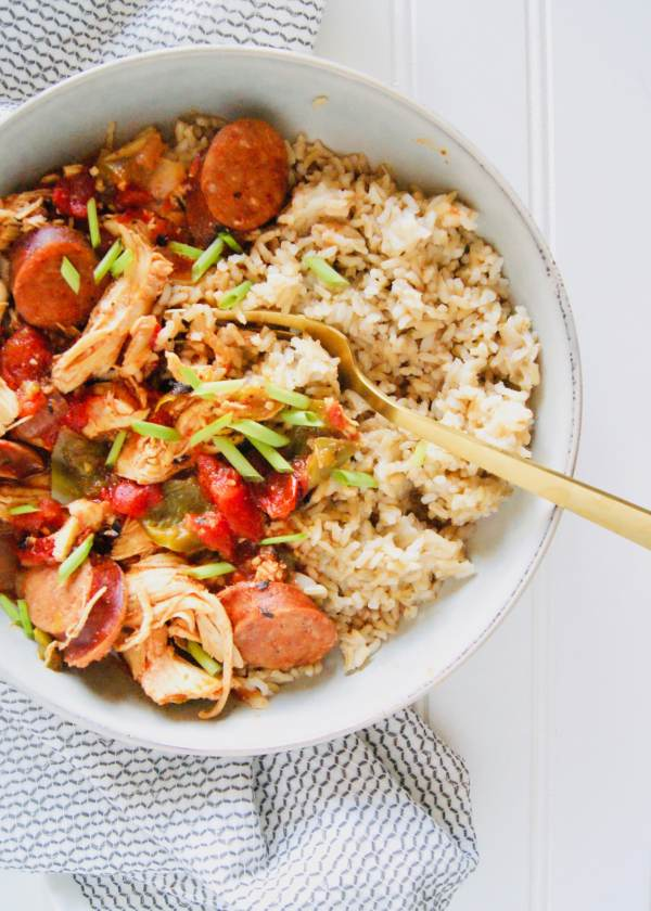Instant Pot Creole Chicken and Sausage is the easy, healthy recipe of your dreams. Andouille Sausage and shredded chicken in a bell pepper, tomato sauce. Serve this creole chicken with rice for an easy weeknight dinner! Recipe at KathleensCravings.com #instantpotchicken #instantpotgumbo #creolechicken #chickenbreastrecipe