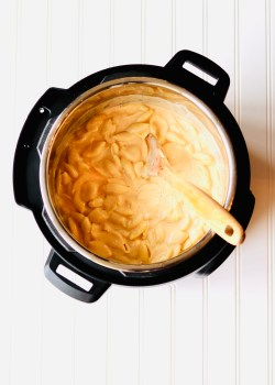 Mac n Cheese in Instant Pot with Wooden Spoon