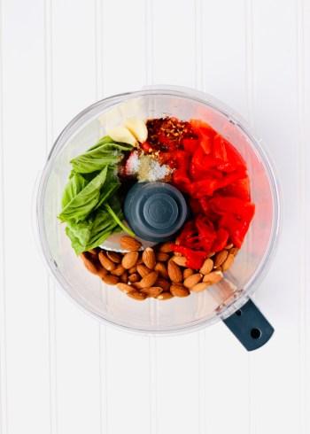 Roasted red pepper dip ingredients in food processor