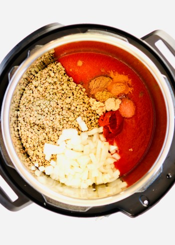 curry lentil ingredients in instant pot