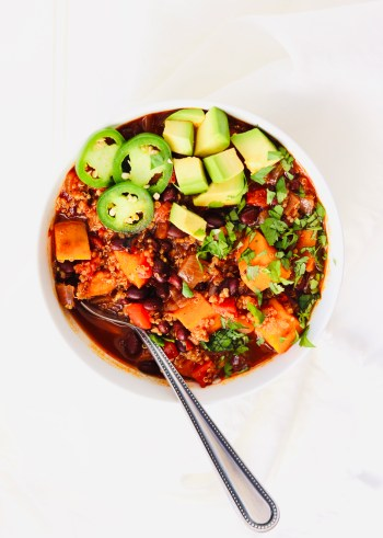Sweet Potato Black Bean Chili in bowl with spoon