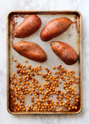 Chickpeas Sweet Potatoes on sheet pan