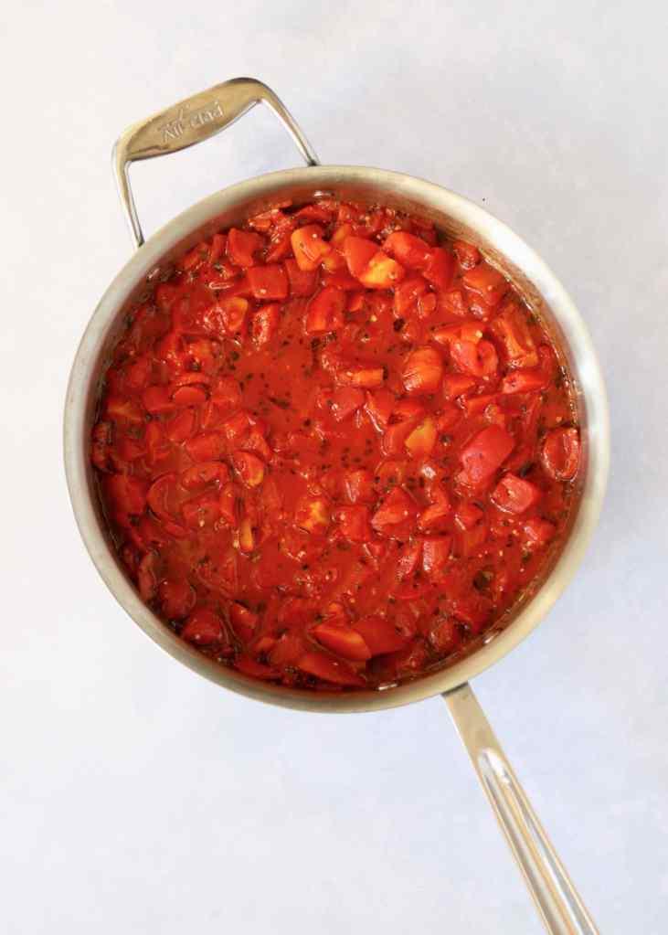 Tomato sauce in saute pan